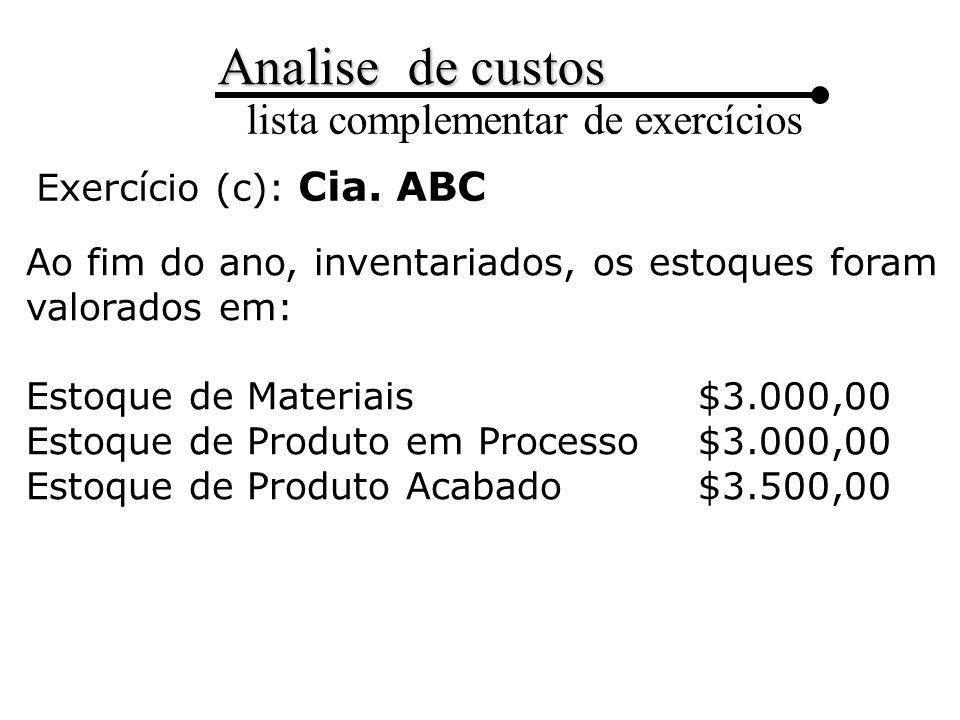 Exercício (c): Cia. ABC Ao fim do ano, inventariados, os estoques foram valorados em: Estoque de Materiais $3.000,00.