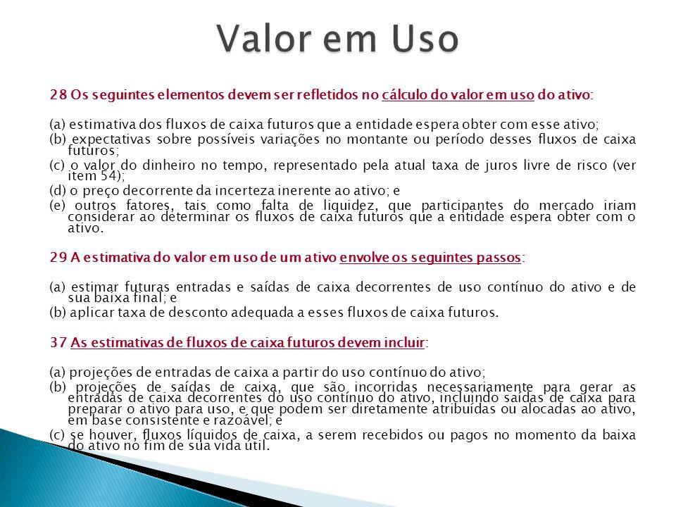 Valor em Uso 28 Os seguintes elementos devem ser refletidos no cálculo do valor em uso do ativo: