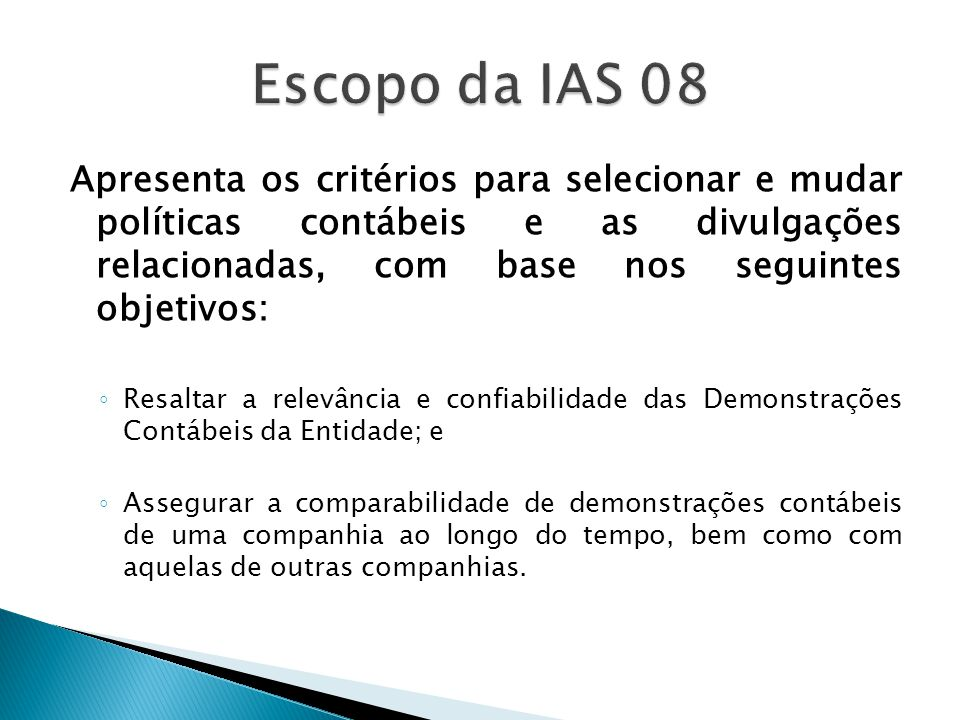 Escopo da IAS 08
