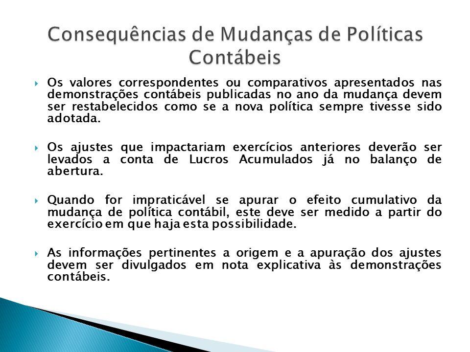 Consequências de Mudanças de Políticas Contábeis