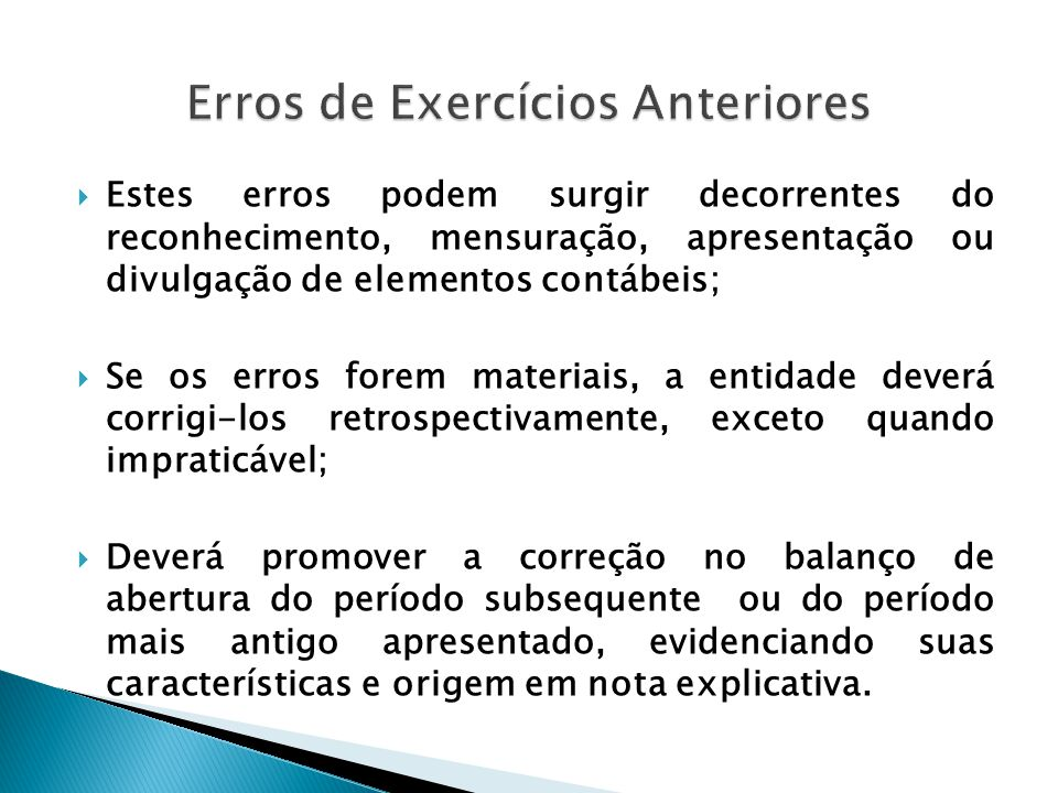 Erros de Exercícios Anteriores