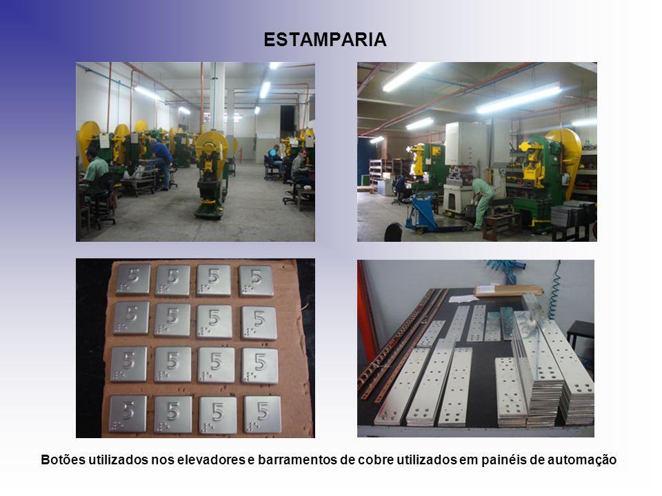 ESTAMPARIA Botões utilizados nos elevadores e barramentos de cobre utilizados em painéis de automação.