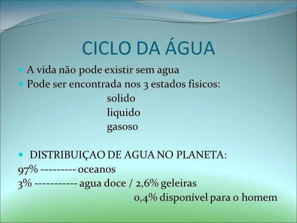 CICLO DA ÁGUA A vida não pode existir sem agua