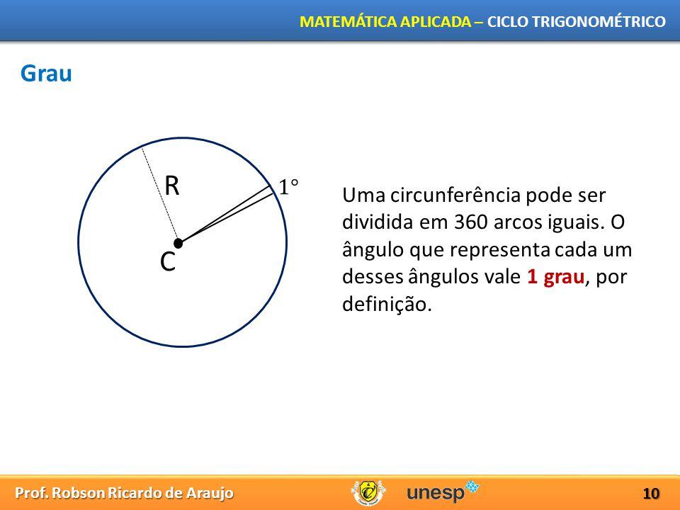 Grau R. 1° Uma circunferência pode ser dividida em 360 arcos iguais. O ângulo que representa cada um desses ângulos vale 1 grau, por definição.