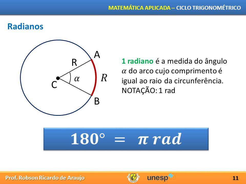 𝟏𝟖𝟎° = 𝝅 𝒓𝒂𝒅 A R 𝑅 C B Radianos 𝛼