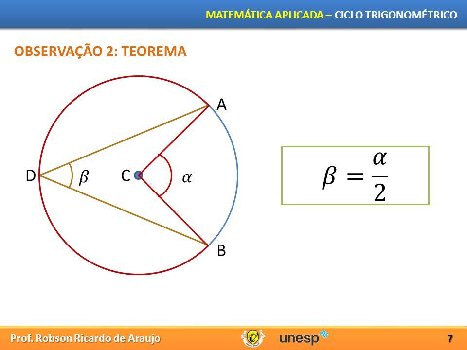 OBSERVAÇÃO 2: TEOREMA A 𝛽= 𝛼 2 D 𝛽 C 𝛼 B