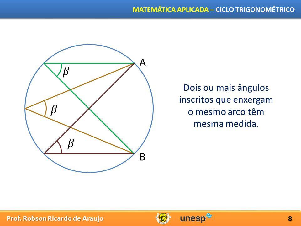 A 𝛽 Dois ou mais ângulos inscritos que enxergam o mesmo arco têm mesma medida. 𝛽 𝛽 B