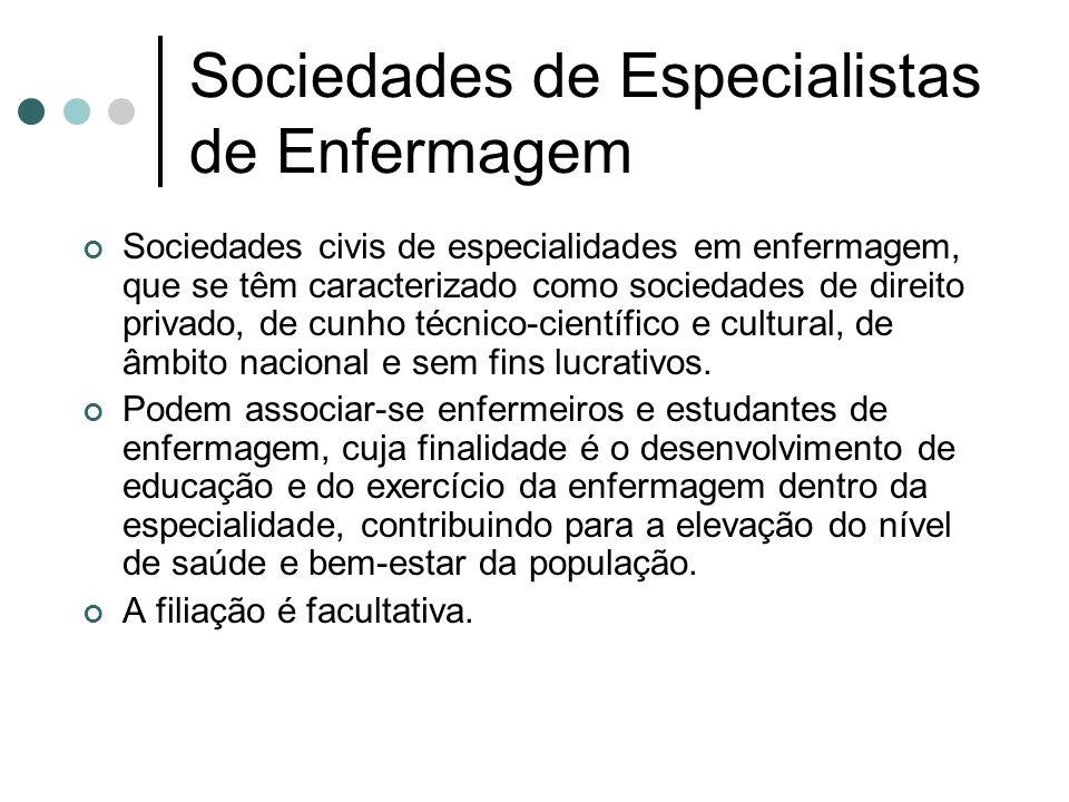 Sociedades de Especialistas de Enfermagem