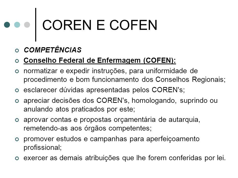 COREN E COFEN COMPETÊNCIAS Conselho Federal de Enfermagem (COFEN):