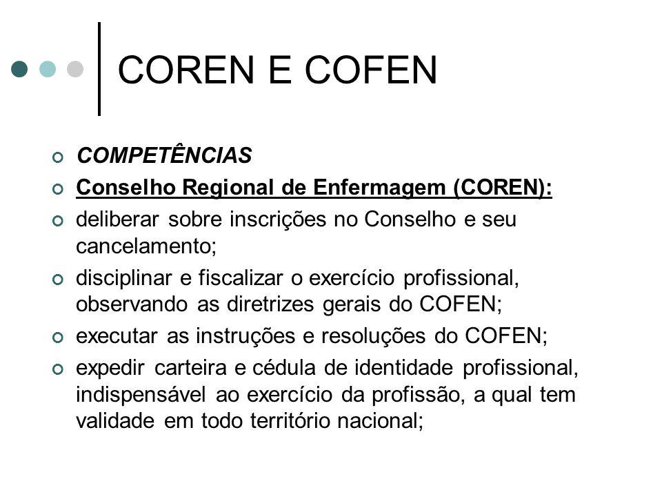 COREN E COFEN COMPETÊNCIAS Conselho Regional de Enfermagem (COREN):