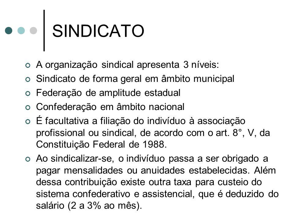 SINDICATO A organização sindical apresenta 3 níveis: