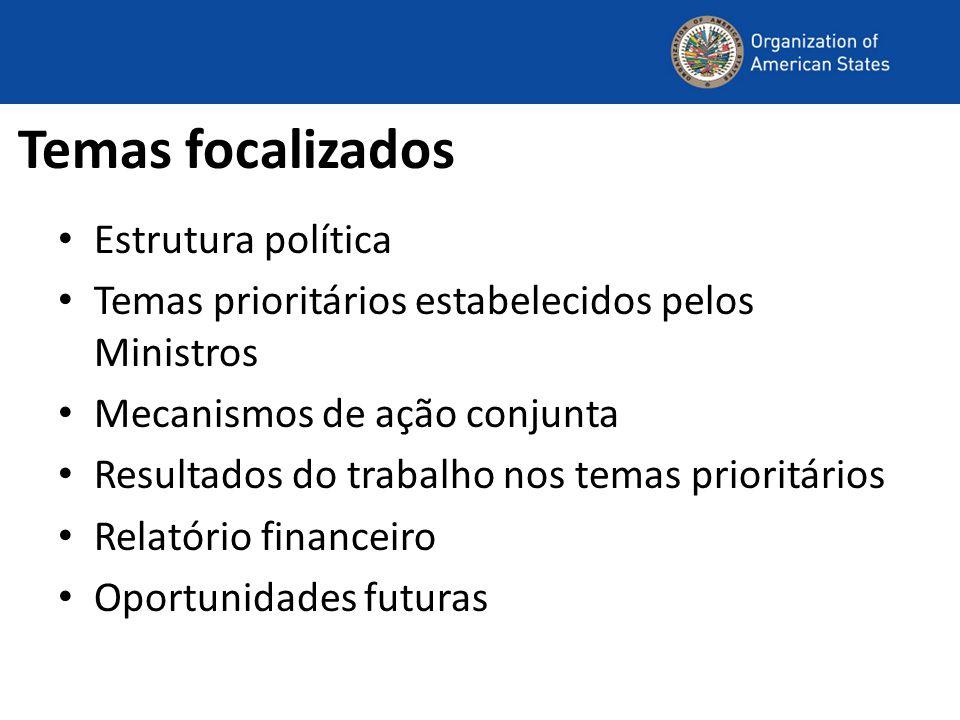 Temas focalizados Estrutura política
