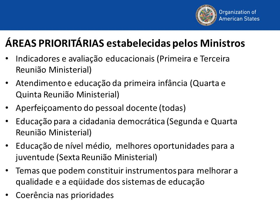 ÁREAS PRIORITÁRIAS estabelecidas pelos Ministros