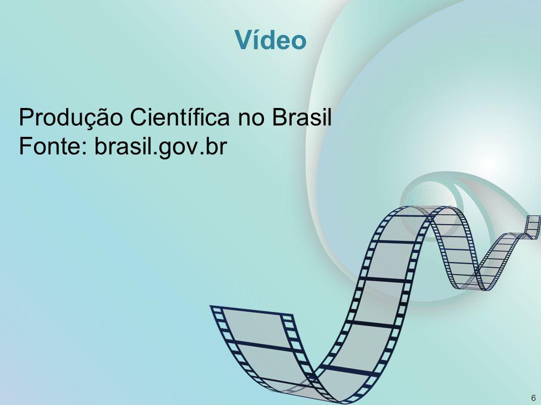 Vídeo Produção Científica no Brasil Fonte: brasil.gov.br