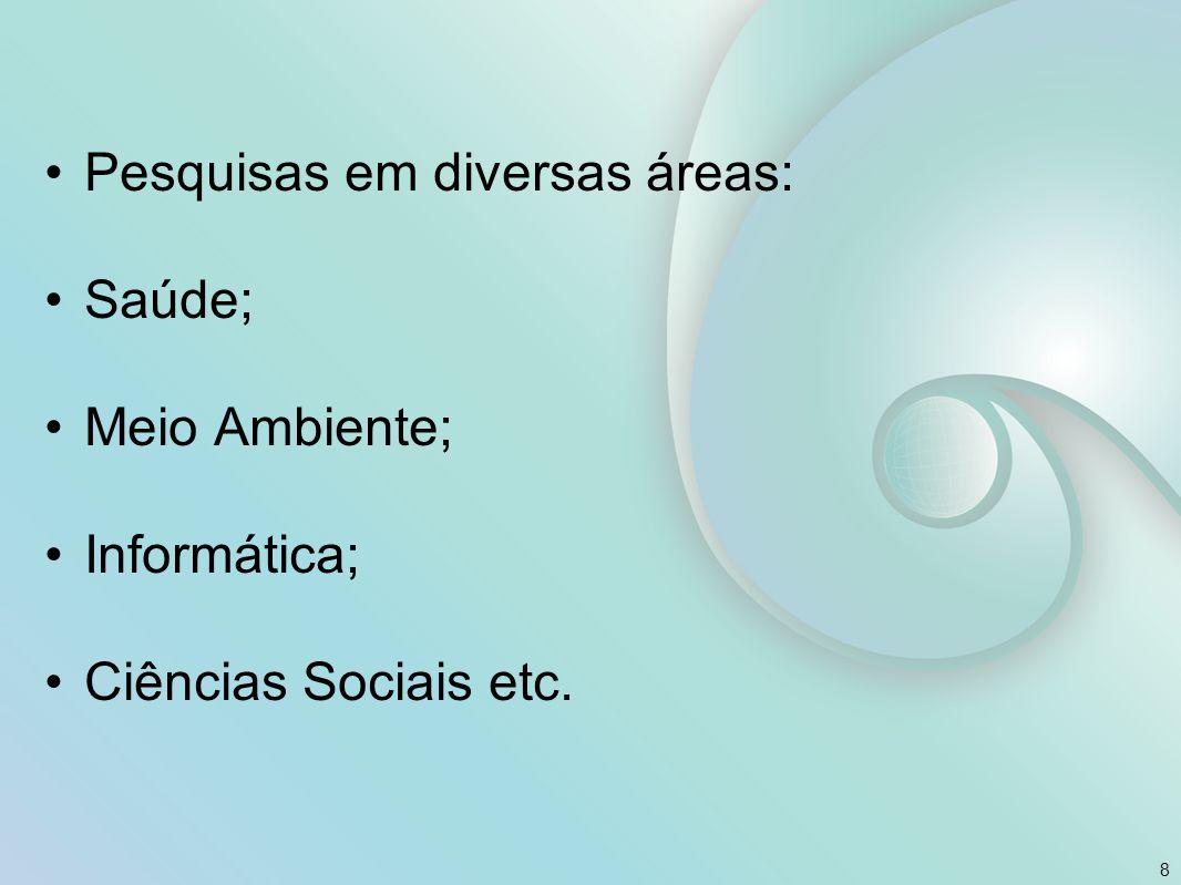 Pesquisas em diversas áreas: