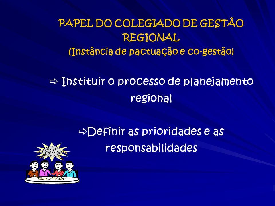  Instituir o processo de planejamento regional