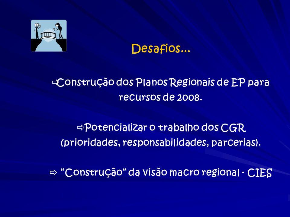 Desafios... Construção dos Planos Regionais de EP para recursos de 2008. Potencializar o trabalho dos CGR.