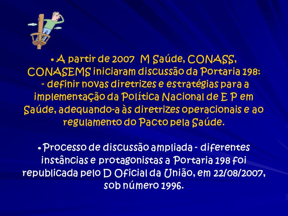 • A partir de 2007 M Saúde, CONASS, CONASEMS iniciaram discussão da Portaria 198: