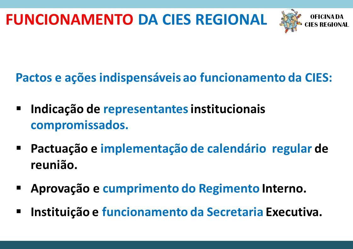 FUNCIONAMENTO DA CIES REGIONAL