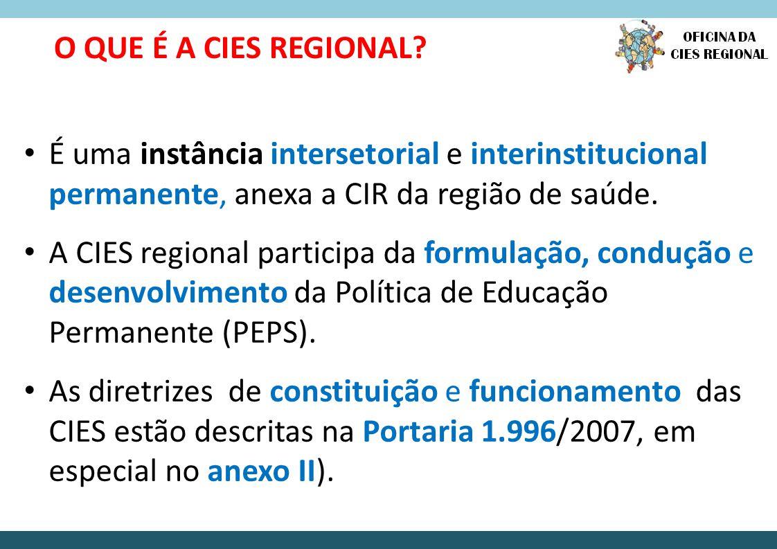 O QUE É A CIES REGIONAL É uma instância intersetorial e interinstitucional permanente, anexa a CIR da região de saúde.