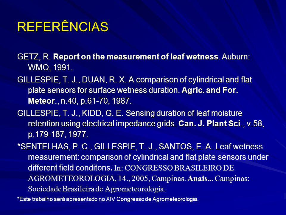 REFERÊNCIAS GETZ, R. Report on the measurement of leaf wetness. Auburn: WMO, 1991.