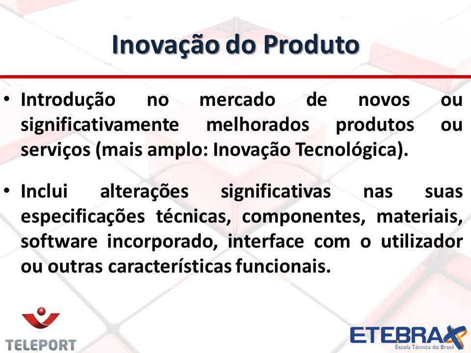 Inovação do Produto Introdução no mercado de novos ou significativamente melhorados produtos ou serviços (mais amplo: Inovação Tecnológica).