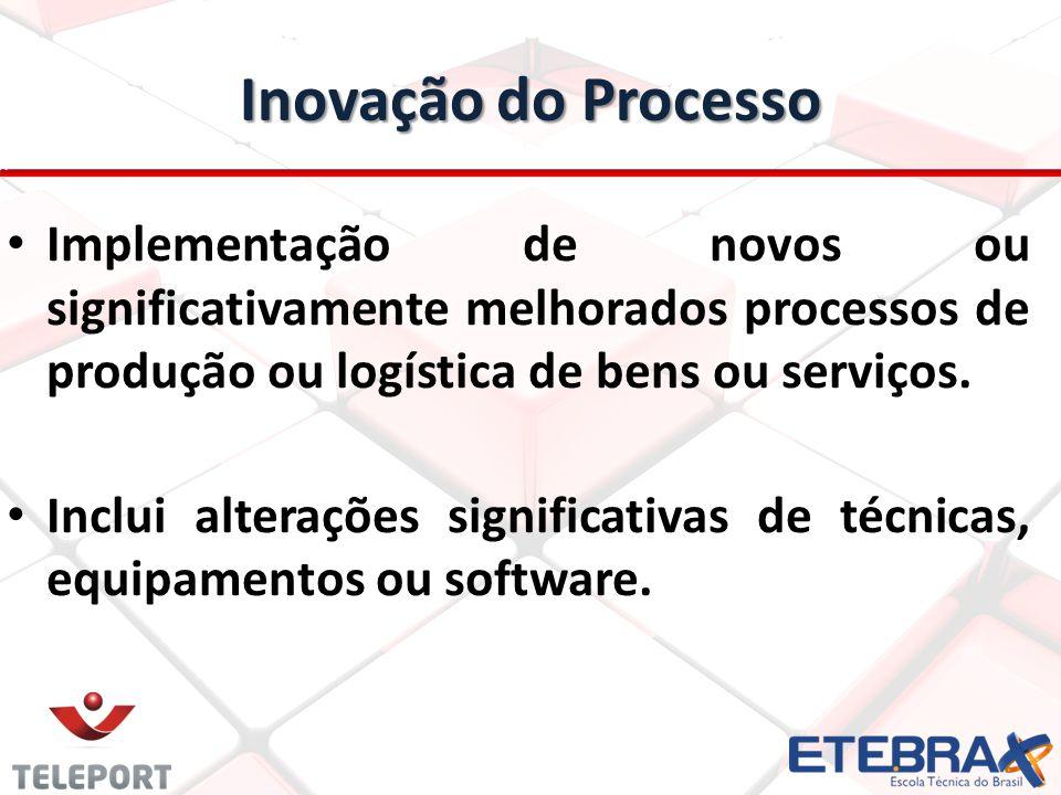 Inovação do Processo Implementação de novos ou significativamente melhorados processos de produção ou logística de bens ou serviços.