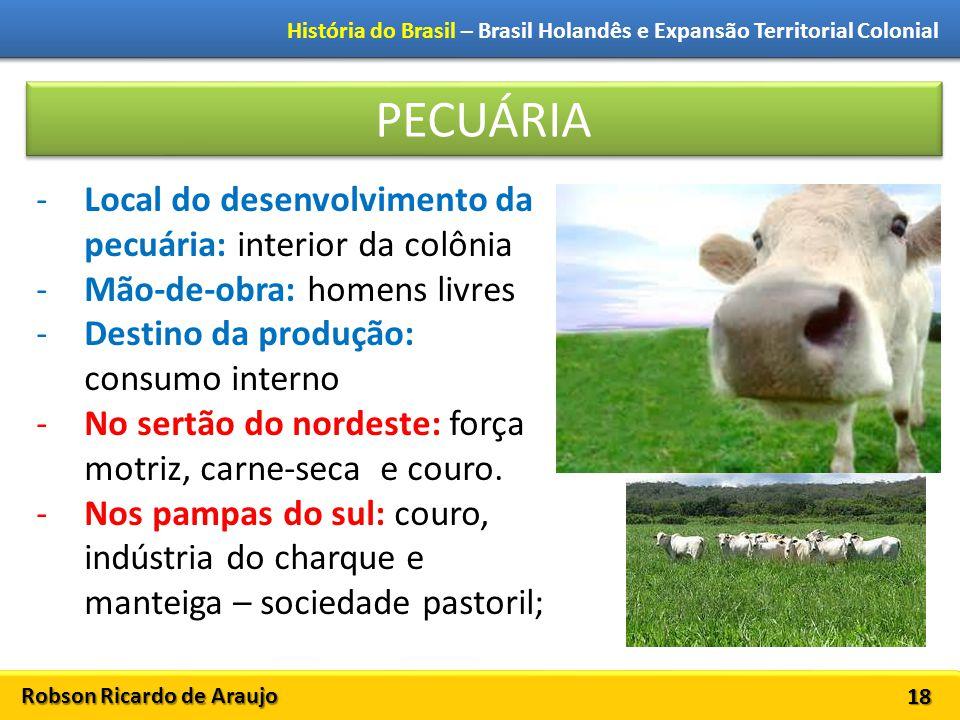 PECUÁRIA Local do desenvolvimento da pecuária: interior da colônia