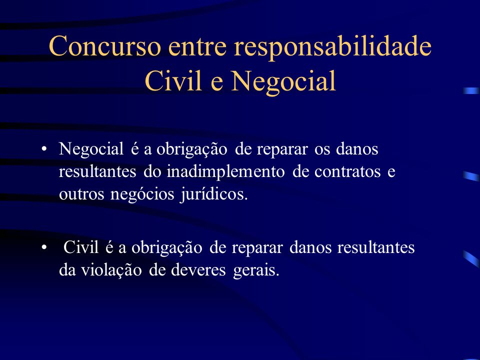 Concurso entre responsabilidade Civil e Negocial