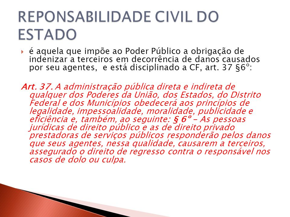 REPONSABILIDADE CIVIL DO ESTADO