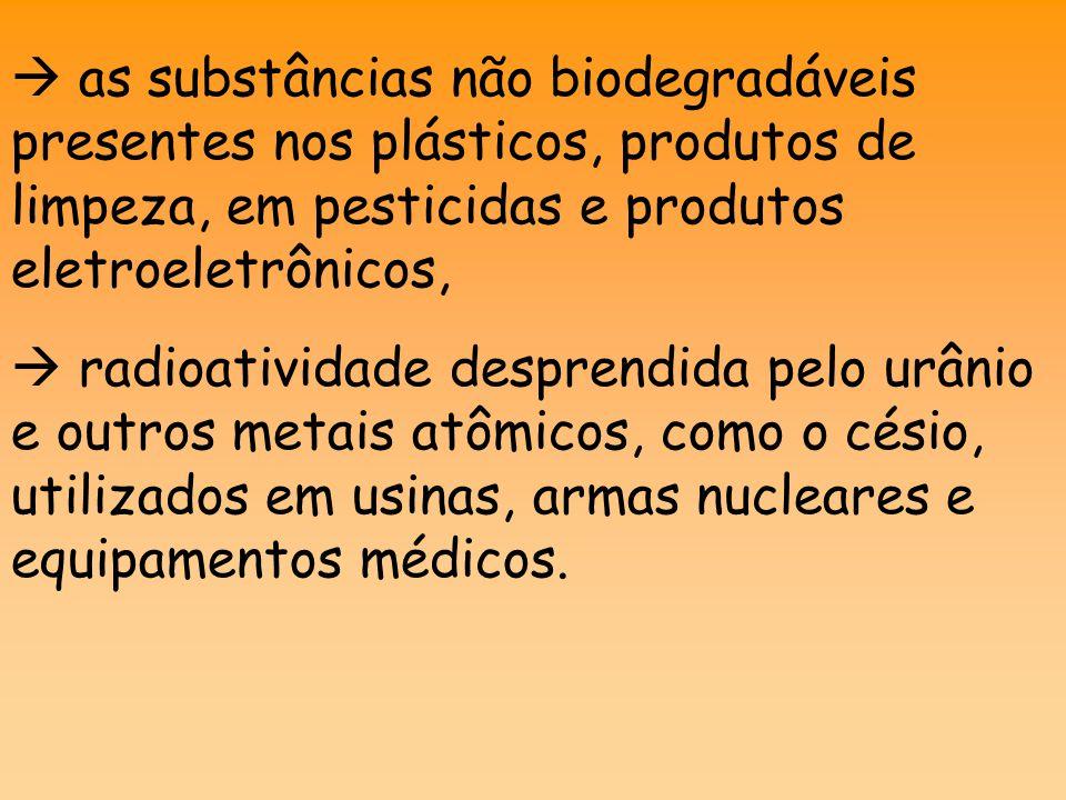 as substâncias não biodegradáveis presentes nos plásticos, produtos de limpeza, em pesticidas e produtos eletroeletrônicos,