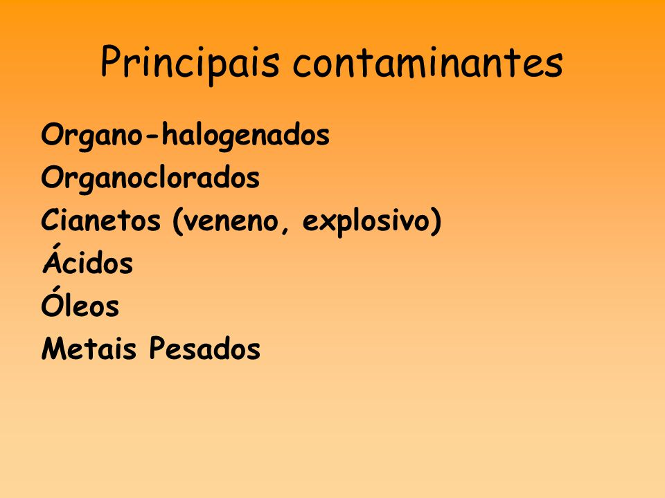 Principais contaminantes