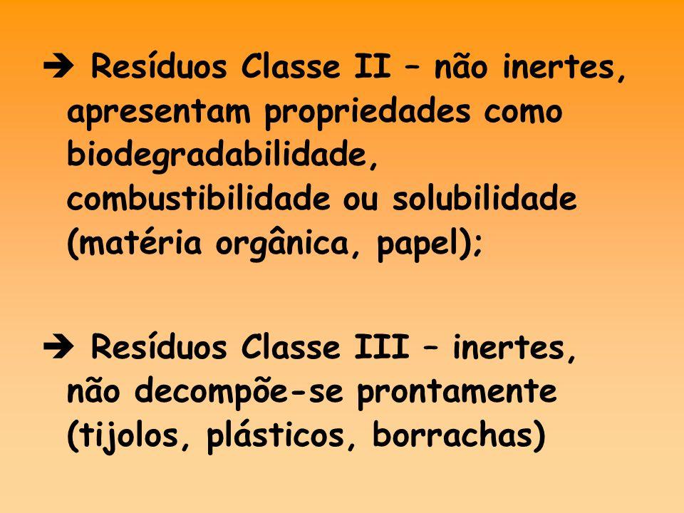  Resíduos Classe II – não inertes, apresentam propriedades como biodegradabilidade, combustibilidade ou solubilidade (matéria orgânica, papel);