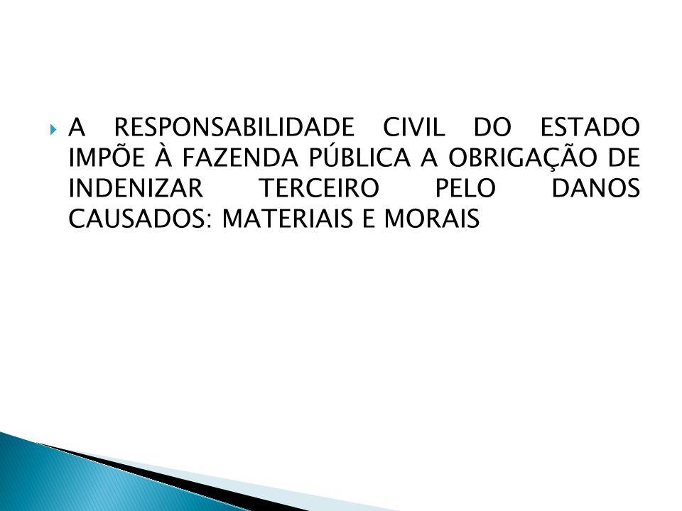A RESPONSABILIDADE CIVIL DO ESTADO IMPÕE À FAZENDA PÚBLICA A OBRIGAÇÃO DE INDENIZAR TERCEIRO PELO DANOS CAUSADOS: MATERIAIS E MORAIS