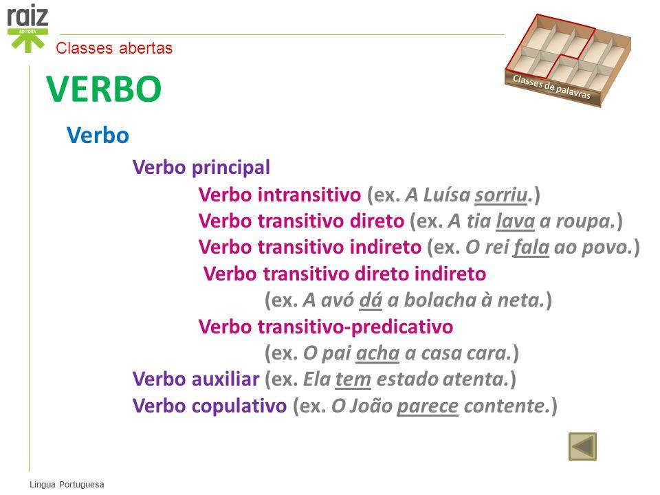 VERBO Verbo Verbo principal Verbo intransitivo (ex. A Luísa sorriu.)
