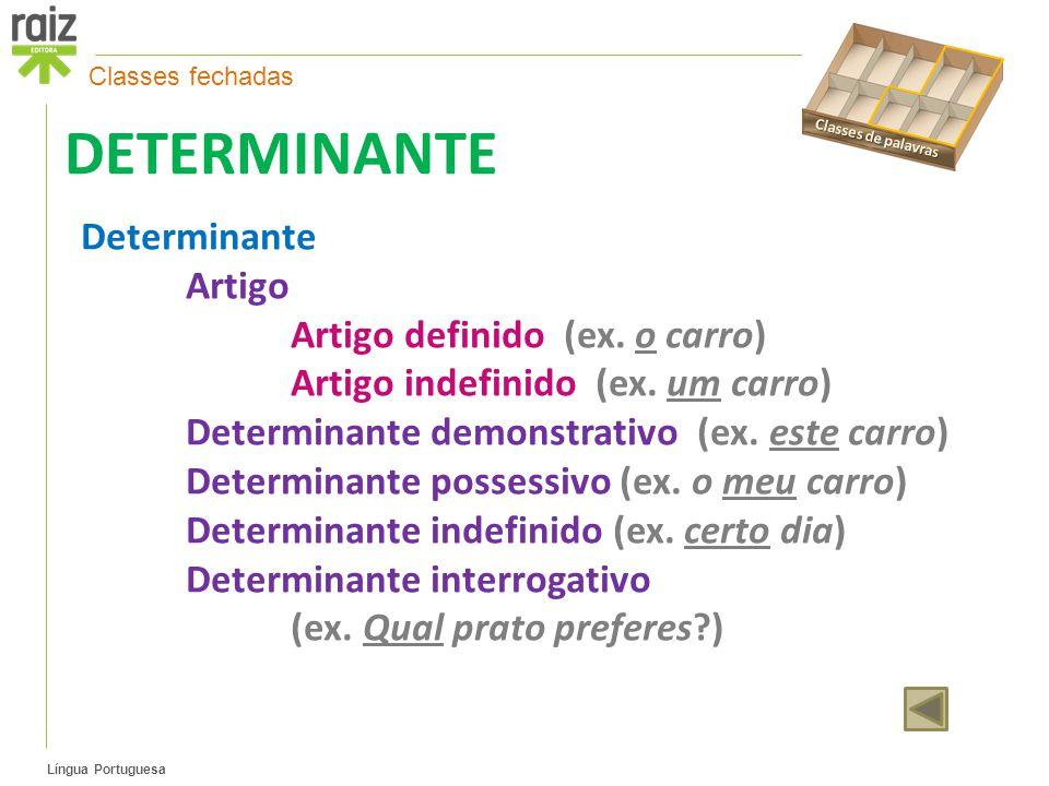 DETERMINANTE Determinante Artigo Artigo definido (ex. o carro)