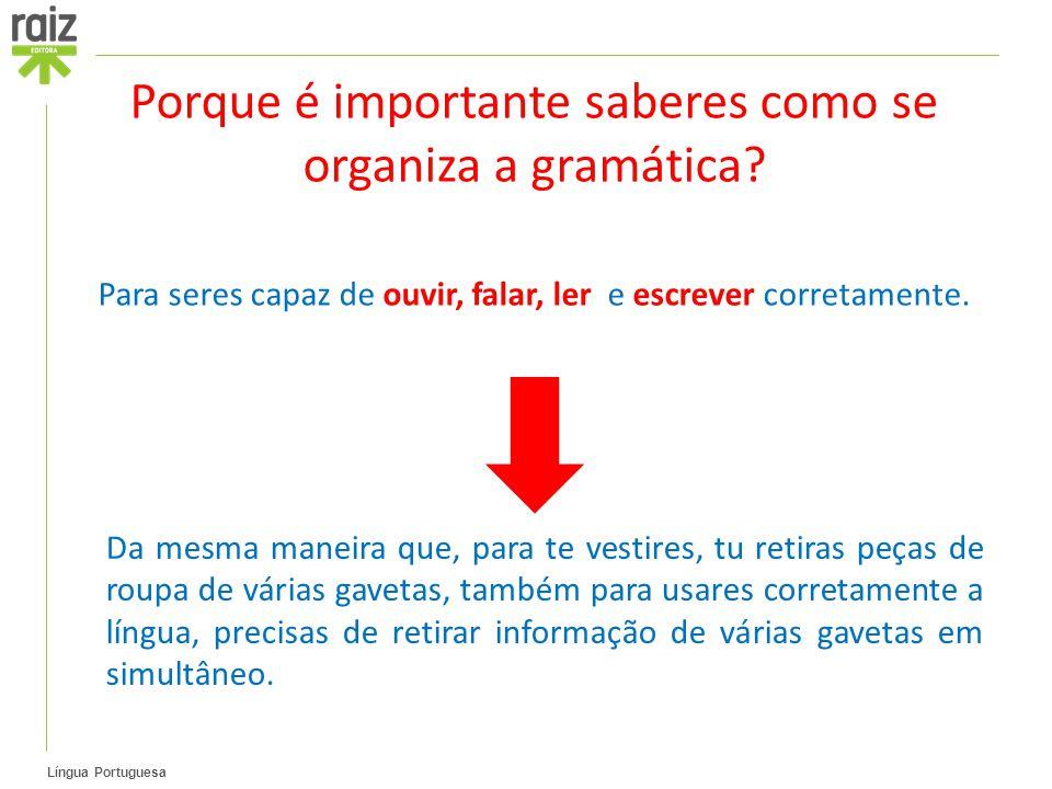 Porque é importante saberes como se organiza a gramática