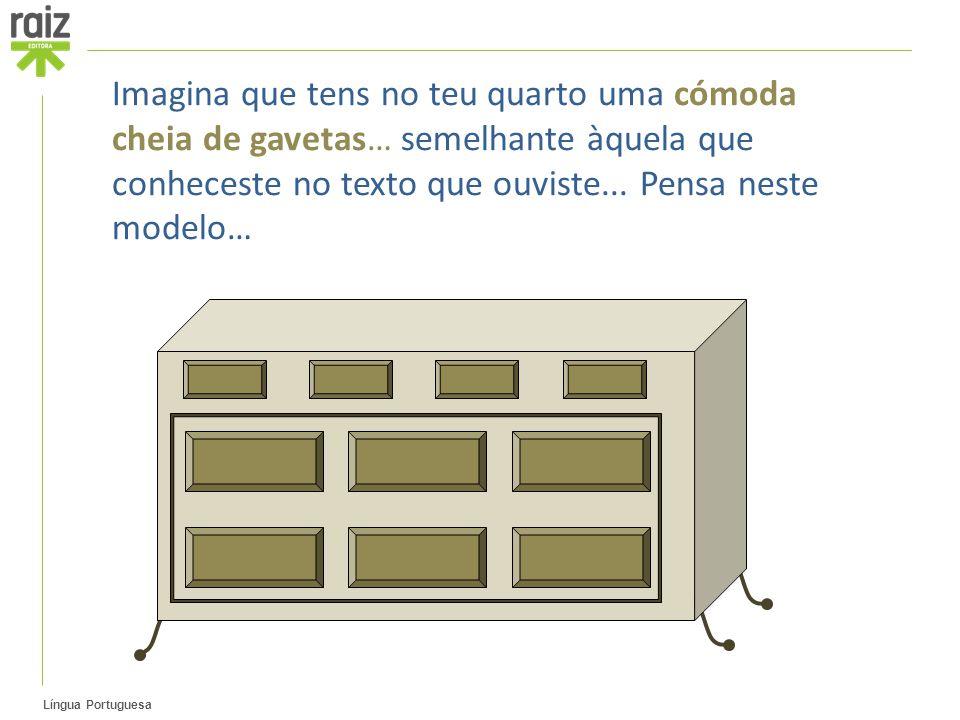 Imagina que tens no teu quarto uma cómoda cheia de gavetas… semelhante àquela que conheceste no texto que ouviste...