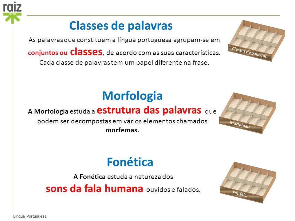 Classes de palavras Morfologia Fonética