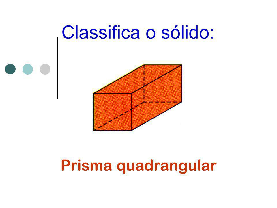 Classifica o sólido: Prisma quadrangular