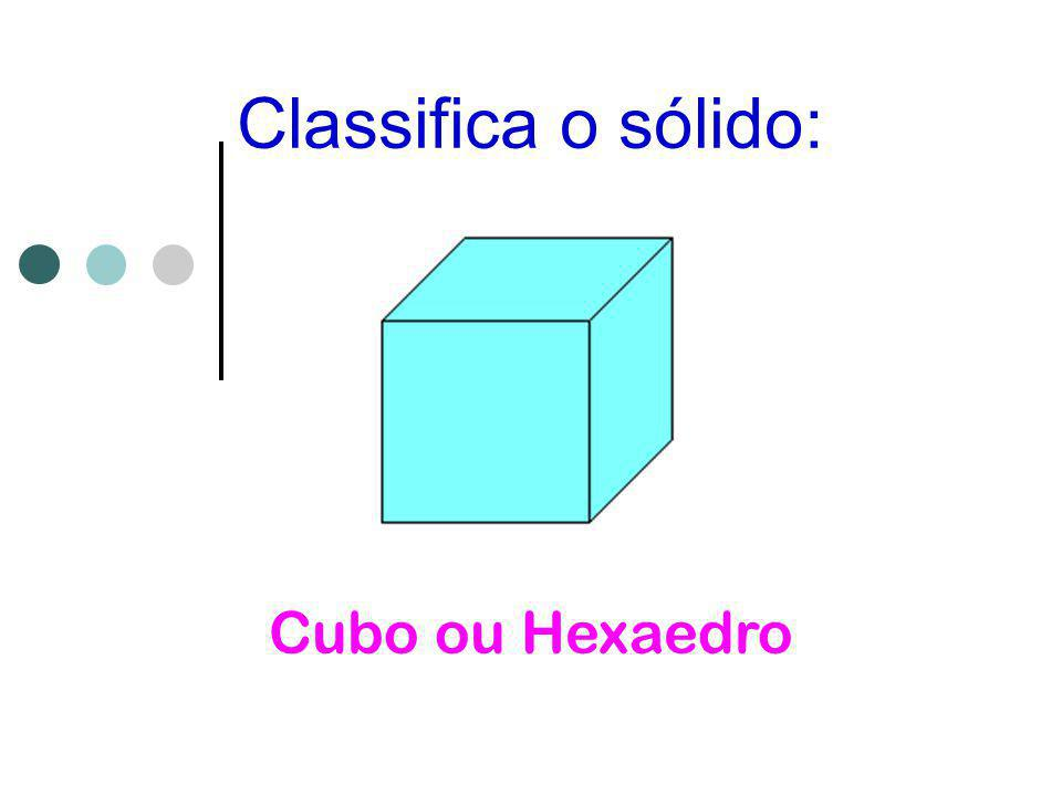 Classifica o sólido: Cubo ou Hexaedro