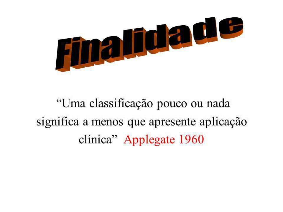 Finalidade Uma classificação pouco ou nada significa a menos que apresente aplicação clínica Applegate 1960.