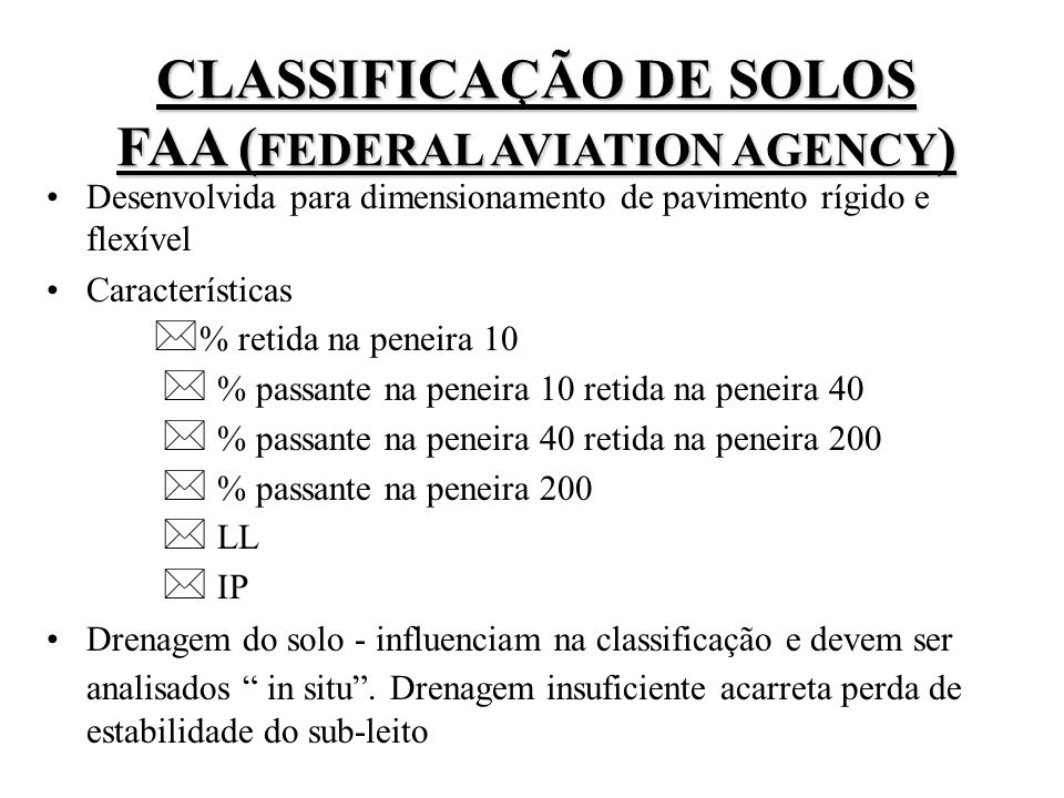 CLASSIFICAÇÃO DE SOLOS FAA (FEDERAL AVIATION AGENCY)