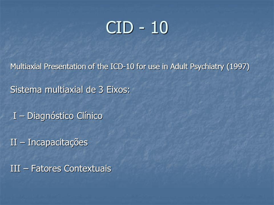 CID - 10 Sistema multiaxial de 3 Eixos: I – Diagnóstico Clínico