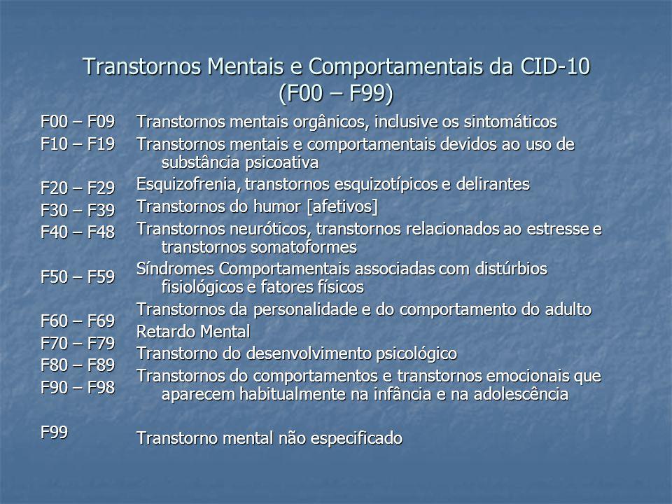 Transtornos Mentais e Comportamentais da CID-10 (F00 – F99)