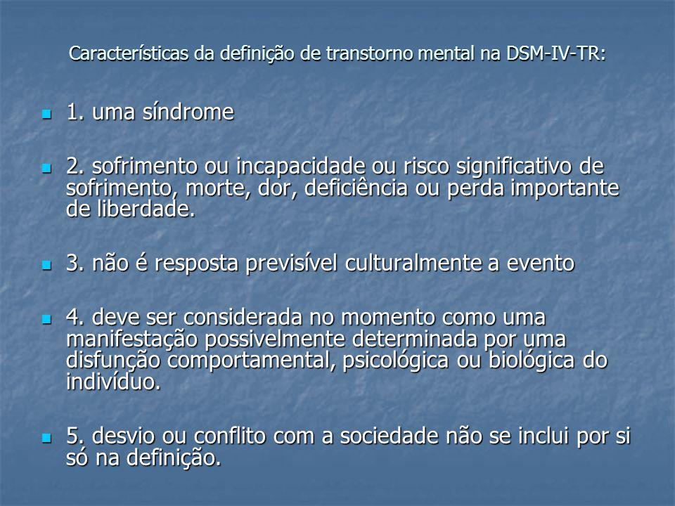 Características da definição de transtorno mental na DSM-IV-TR: