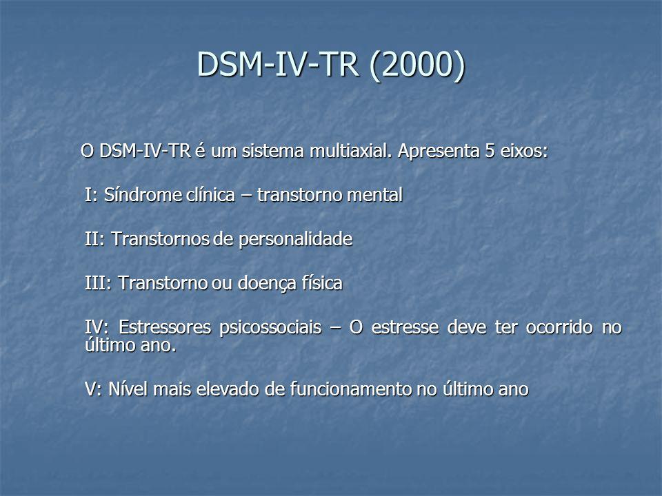 DSM-IV-TR (2000) O DSM-IV-TR é um sistema multiaxial. Apresenta 5 eixos: I: Síndrome clínica – transtorno mental.