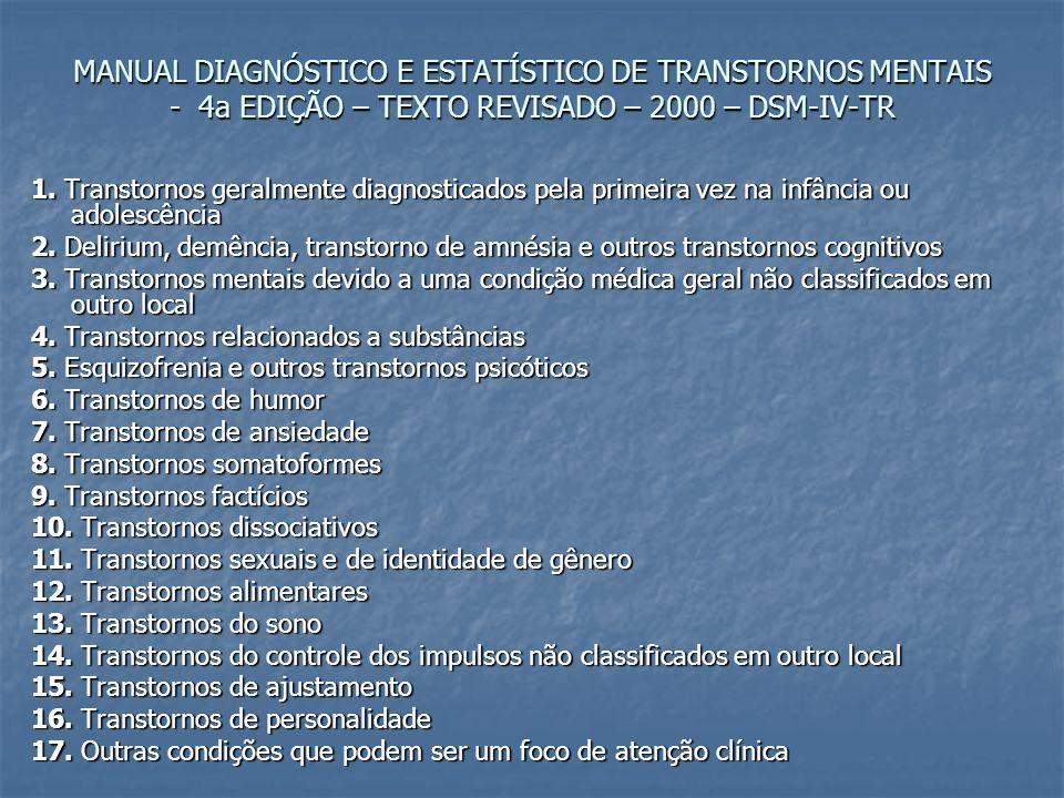MANUAL DIAGNÓSTICO E ESTATÍSTICO DE TRANSTORNOS MENTAIS - 4a EDIÇÃO – TEXTO REVISADO – 2000 – DSM-IV-TR