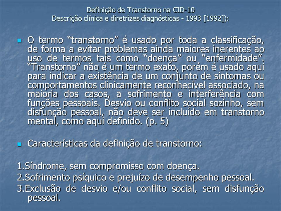 Características da definição de transtorno: