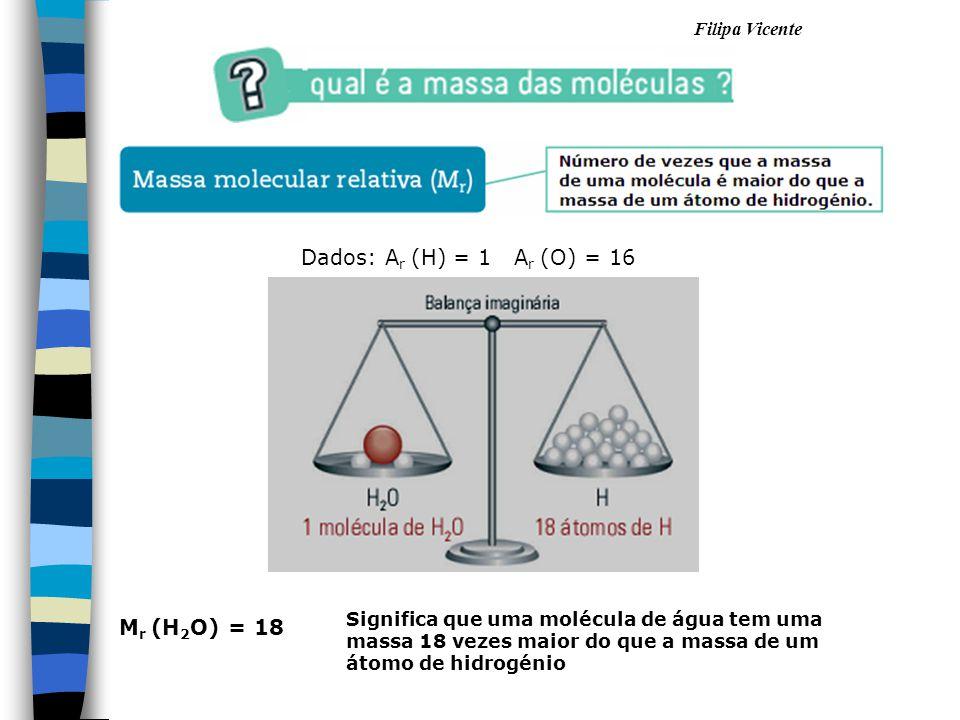 Dados: Ar (H) = 1 Ar (O) = 16 Mr (H2O) = 18